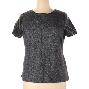 Talbots grey and black faux leather shirt